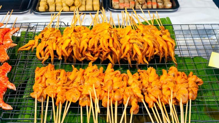 Grilled Squids on sticks