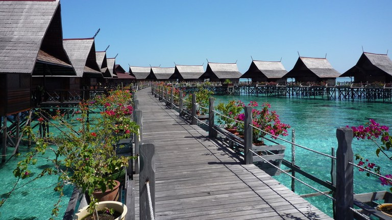 Water bungalows in Kapalai Island