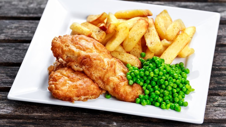 Fish and chips with peas