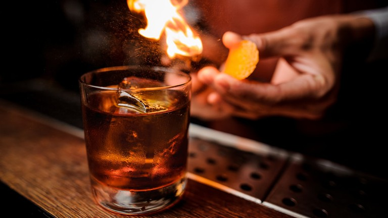 Flame over a cocktail