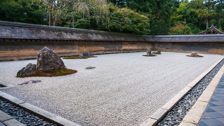 Ryoanji Temple is the site of Japan's most famous rock garden, which attracts hundreds of visitors every day