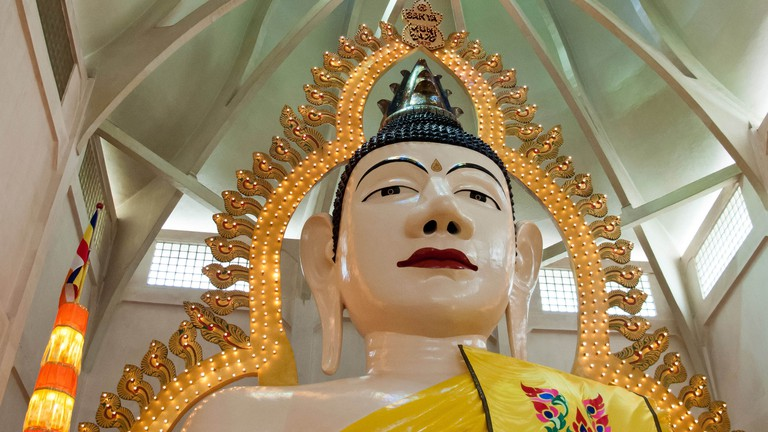 The 15 metre high statue of Buddha at the Sakya Muni Buddha Gaya Temple in Singapore