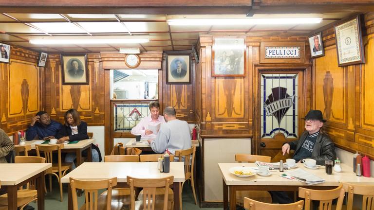 E Pellicci Italian cafe, Bethnal Green Road, London.
