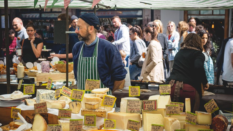 Cheese stall at Broadway Market, Hackney, London