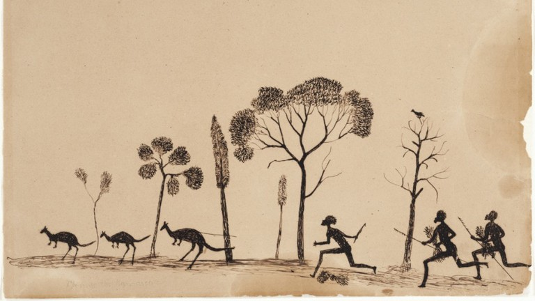 Spearing the Kangaroo by Tommy McRae © Art Gallery of New South Wales