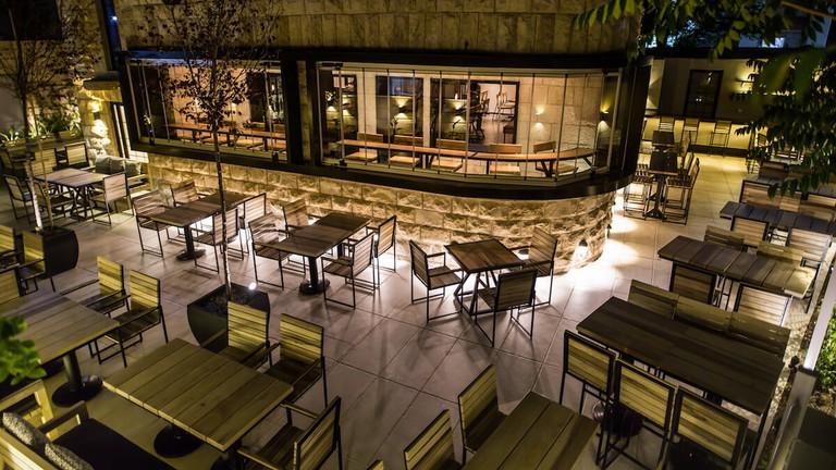 Outdoor patio at Veer