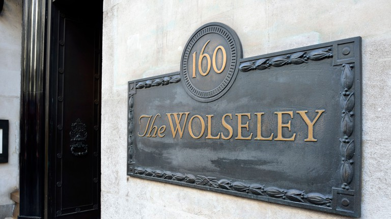 London, England, UK. The Wolseley restaurant at 160 Piccadilly. Originally built as a showroom for Wolseley cars