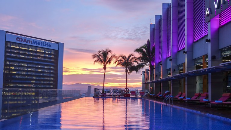 View of infinity pool at Aloaf hotel in Kuala Lumpur