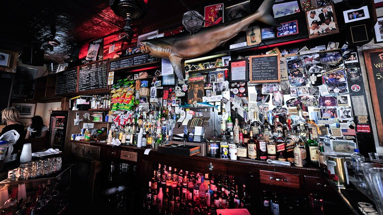 One of the iconic stuffed sharks hangs above the bar