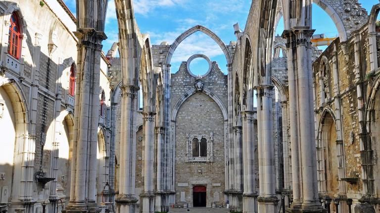 Ruins of Carmo church in Lisbon, Portugal.