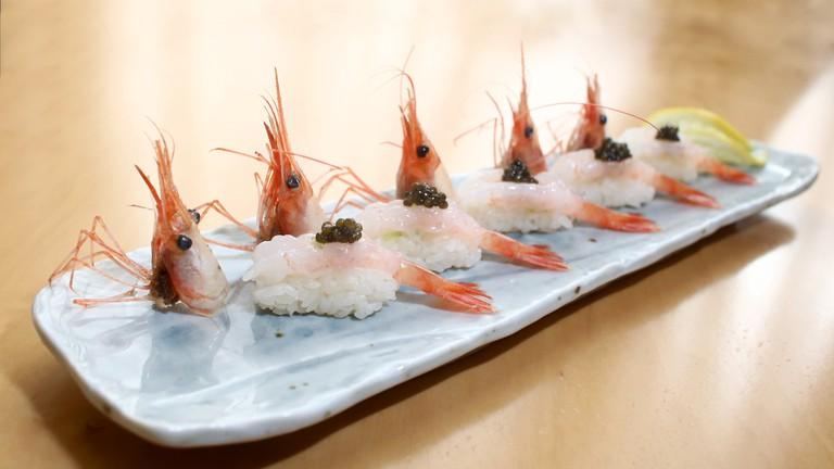 Neta Omakase Botan shrimp sushi 2017