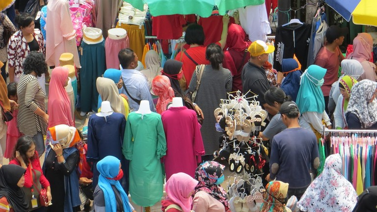 Crowd of people on street market in Tanah Abang district, Jakarta