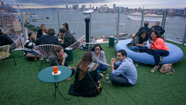 Standard Hotel Roof Top Bar Le Bain , Meatpacking district, New York City.