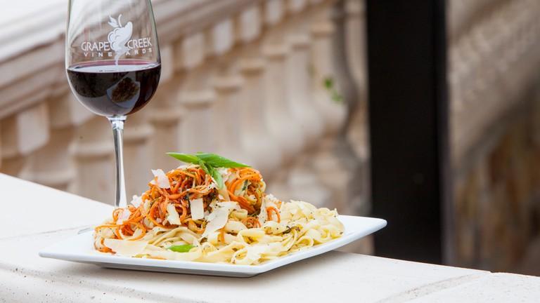 Wine and pasta at Grape Creek Vineyards