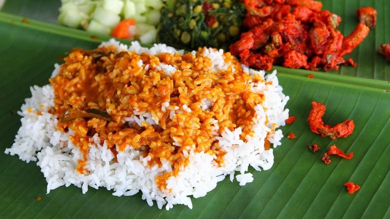 Malaysian banana leaf rice