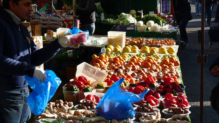 Fruits and vegetable stall at Dalston market