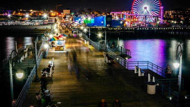 The Santa Monica Pier at night, in Santa Monica, California.