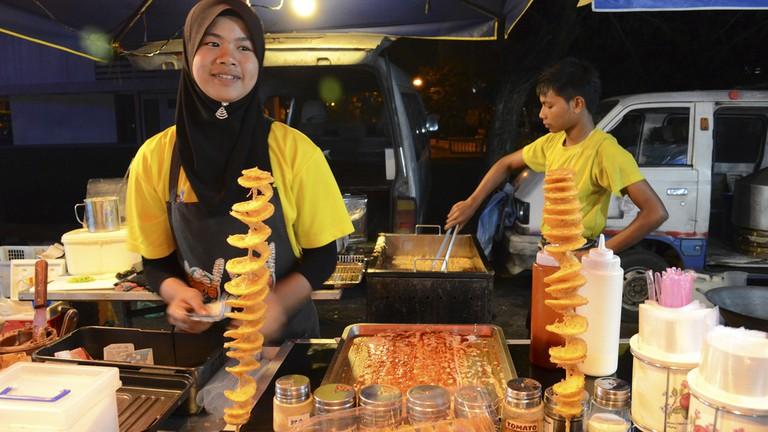 Night market in Langkawi island, Malaysia.