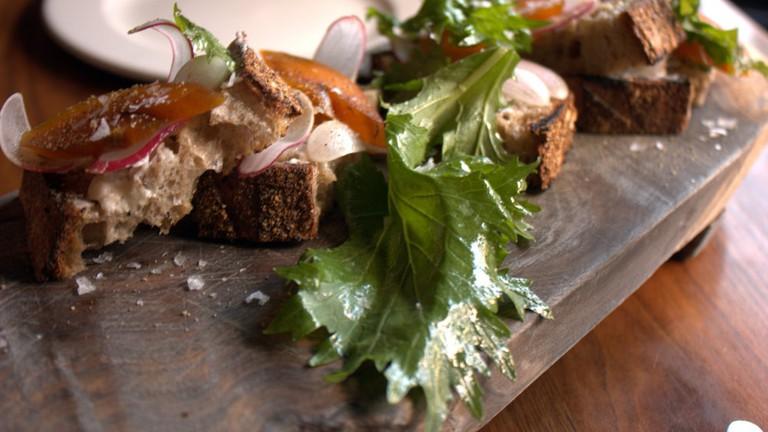 bar tartine bottarga, grilled bread, butter, radish