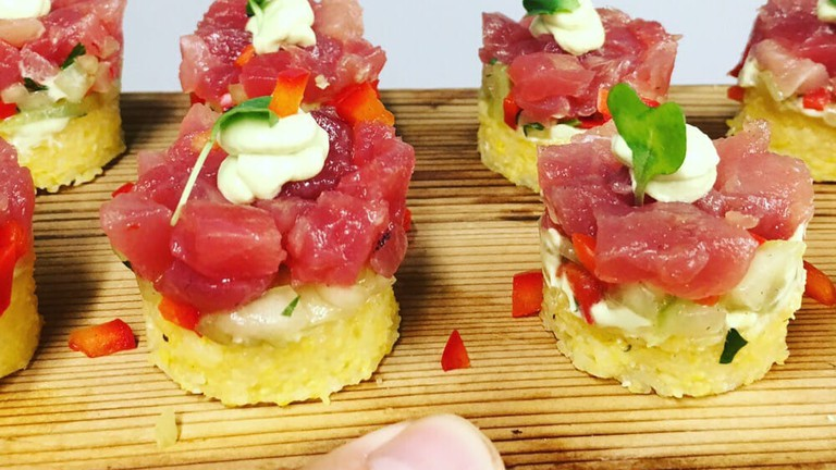 Ahi tuna Napoleon with avocado wasabi mousse