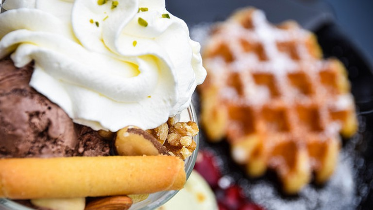 Cold ice cream and hot waffle