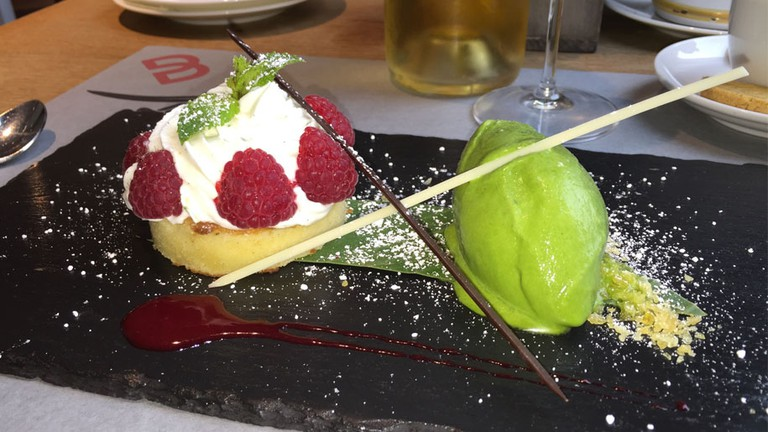 Vanilla biscuit with lime mascarpone and basil ice cream