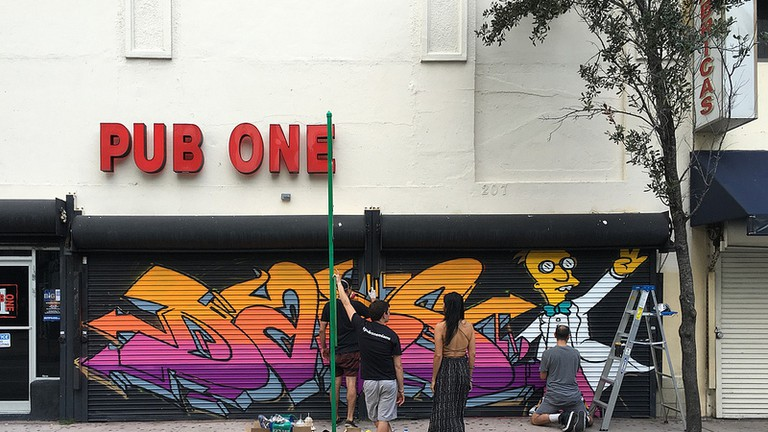 Painting a Mural Downtown at Pub One