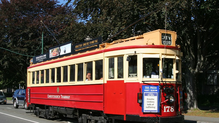 Vintage Christchurch Boon-built Tram No 178 on the Christchurch Tramway