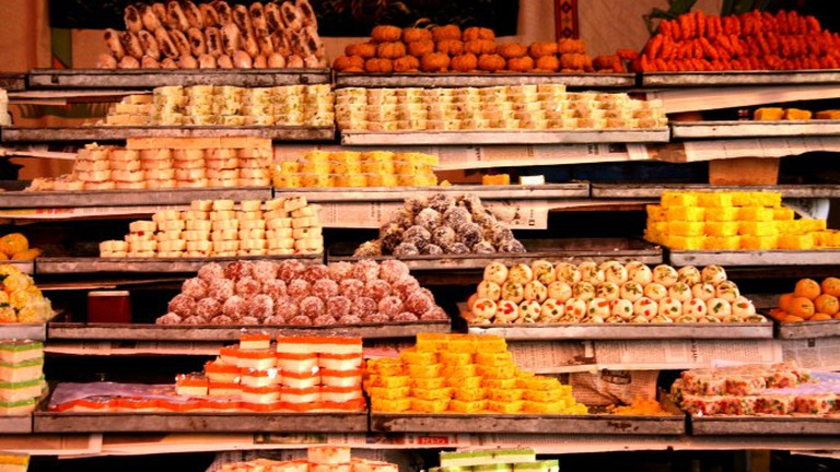 Street shops for sweets, mithai Rajasthan India