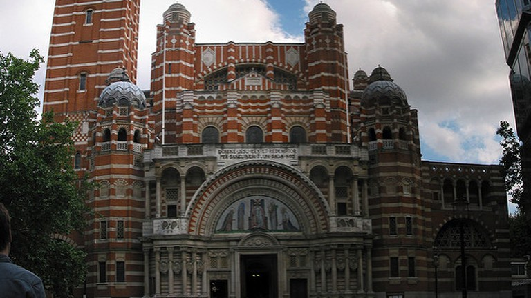 The peculiar red and white striped facing of the Westminster Cathedral