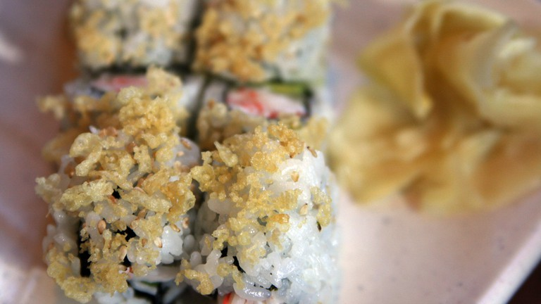 Find crunchy sushi rolls like this at Wrap 'N Roll Sushi