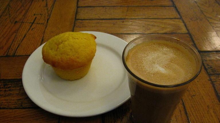 White Squirrel Coffee and Cornmeal Lemon Muffin