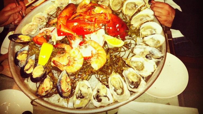 A delicious plate of fresh shellfish from Bar Crudo
