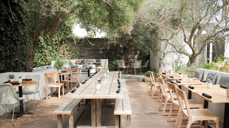 Backyard outdoor patio at Plant Food + Wine