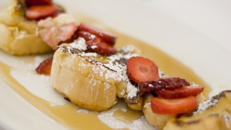 Strawberry French Toasts at Lil Drizzy's Cafe in New Orleans' Treme district