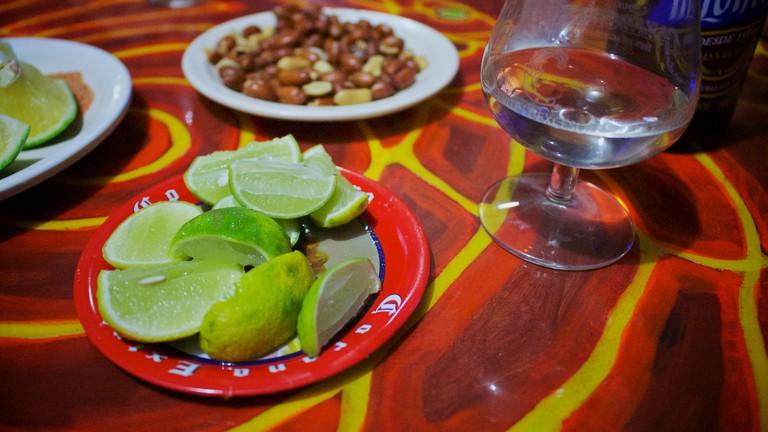 Mezcal and snacks