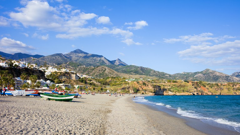 Burriana beach at the Mediterranean Sea in Nerja, Spain