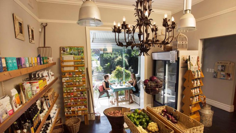 The interior also hosts an organic fruit and vegetable store