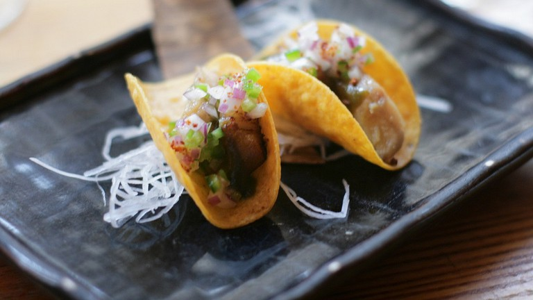 smoked black cod tacos, from nobu next door