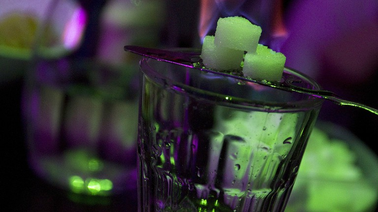 A glass of absinthe