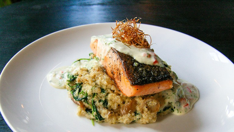 Seared Norwegian salmon fillet at 50th Street Bar and Grill in Yangon