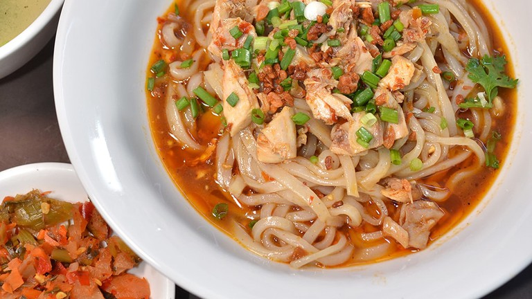 Sticky Shan noodle salad at 999 Shan Noodle Shop in Yangon, Myanmar