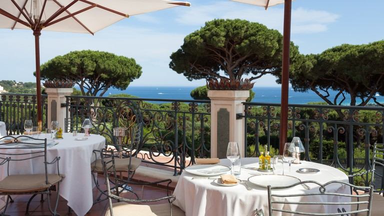 The Messardière sits nestled in the St Tropez trees overlooking the beach and town