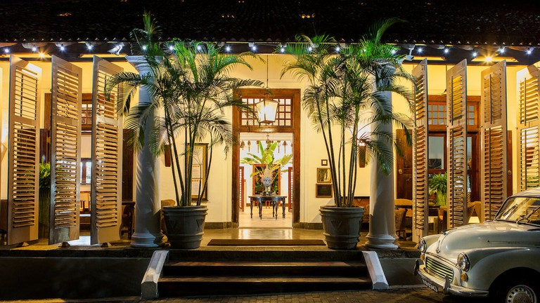 Quaint entrance of the Galle Fort Hotel in Galle, Sri Lanka.