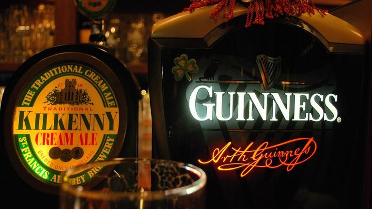 Irish beers on tap