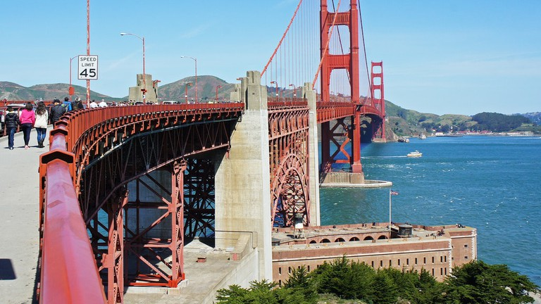 Golden Gate Bridge viewed from the south (San Francisco) access