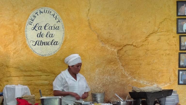 Tortilla maker at La Casa de la Abuela