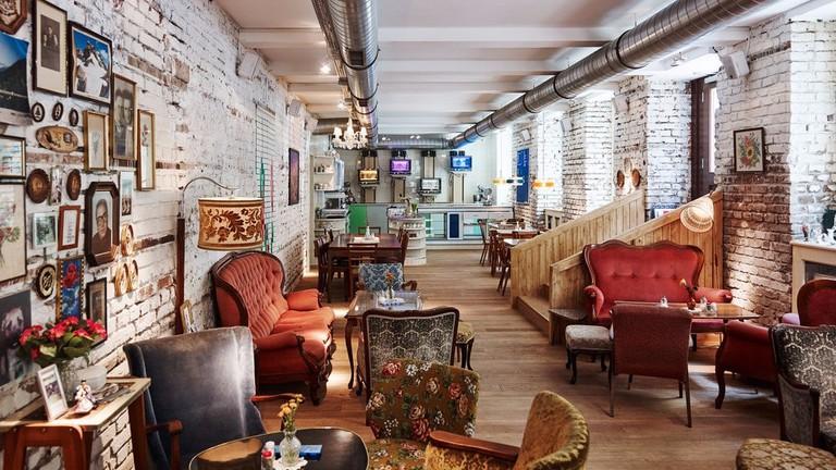 The cozy interior of the café