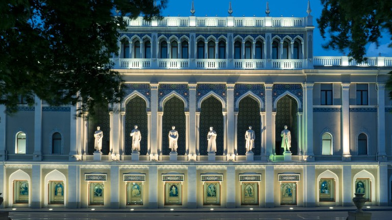 Nizami Museum of Azerbaijani Literature with six life-size statues of famous poets