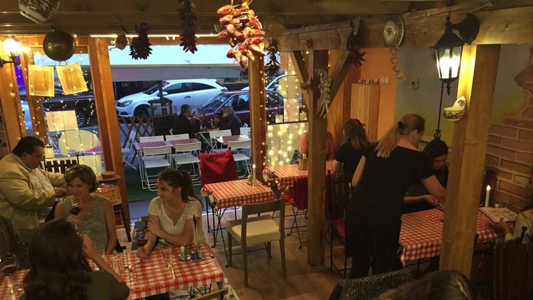 Inside Drum Cafe on Dob Street in Budapest